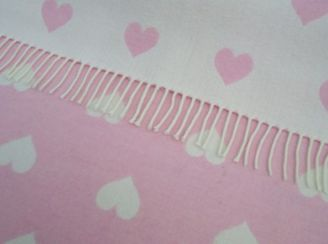 Pink Heart Wool Baby Blanket Throw Pink White Lambswool