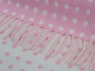 Pink Spot Wool Baby Blanket Throw Pink White Lambswool