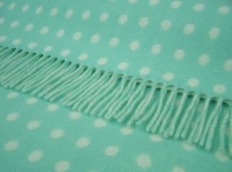 Spearmint Spot Wool Blanket Throw Lambswool