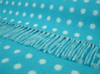 Tropical Blue Spot Wool Blanket Throw Lambswool