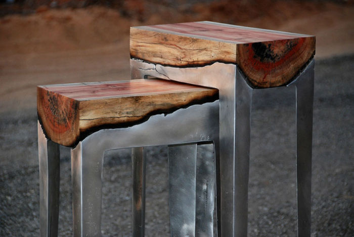 wood and metal furniture