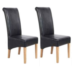 Lewis Solid Oak Faux Leather Roll Back Dining Chair (Quantity 2)