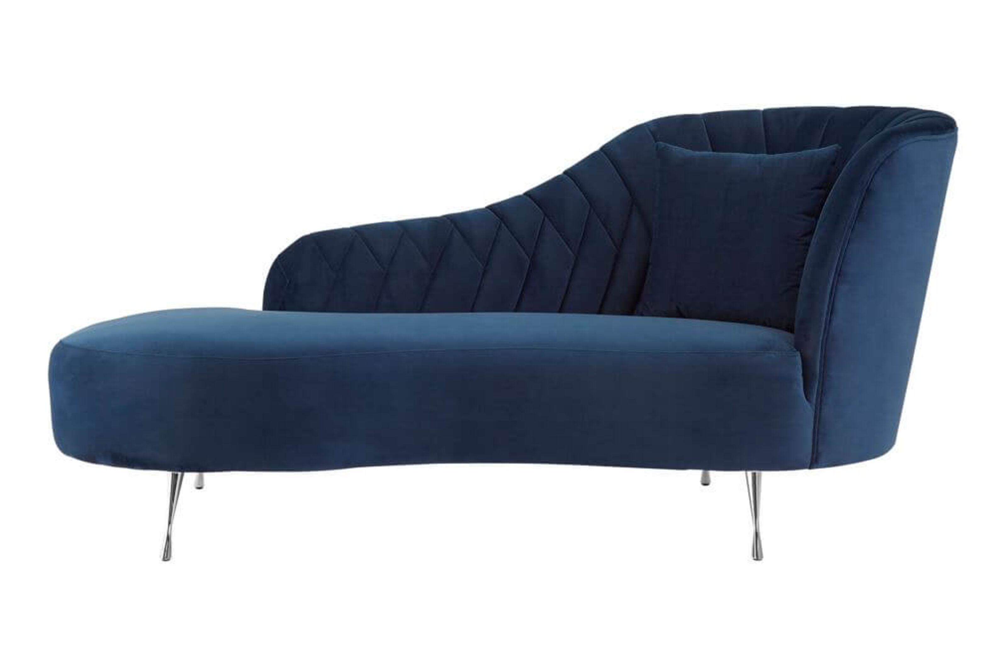 Abramo Chaise Longue Right Arm Dark Blue Velvet Designer Sofas 4u
