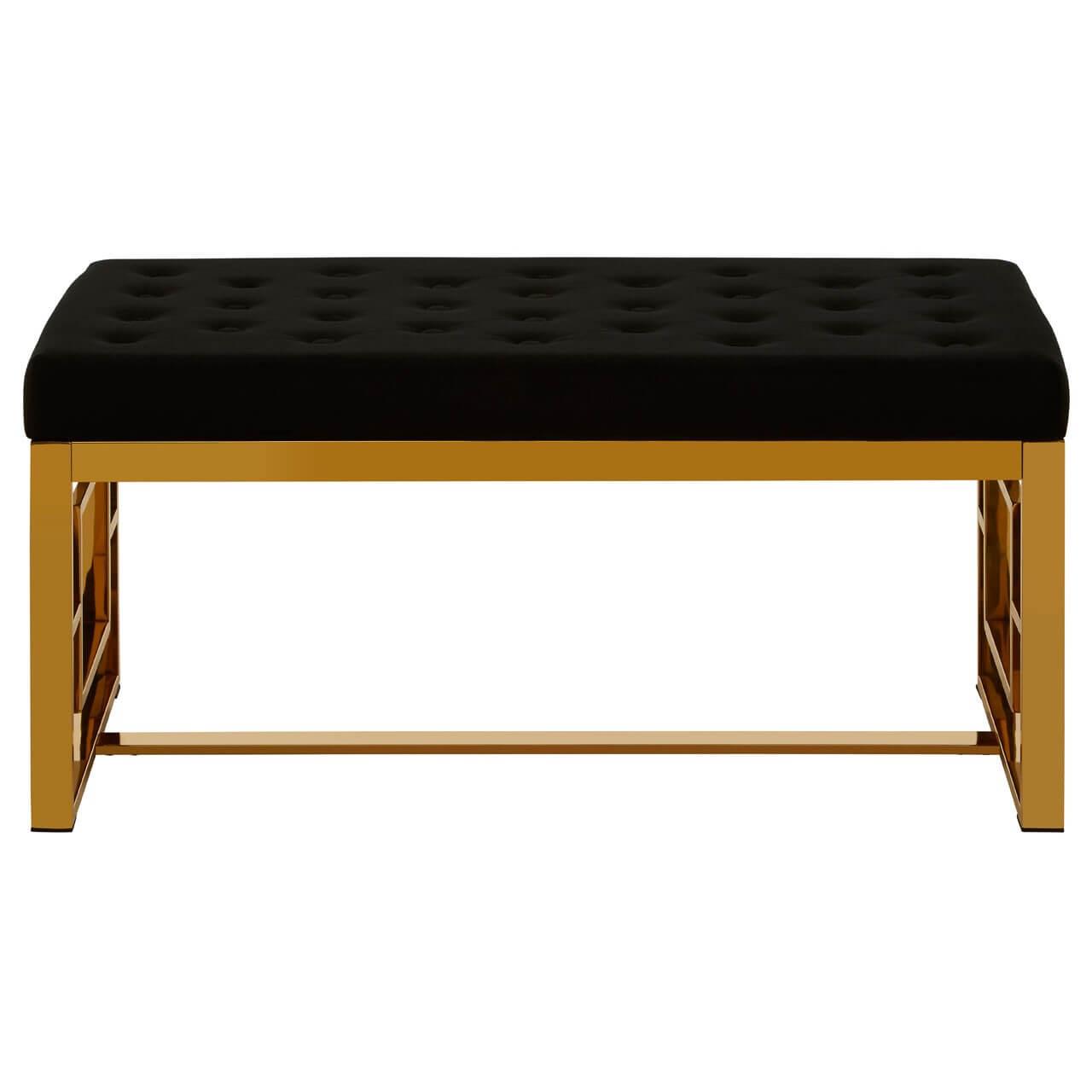 Adolph Black Velvet And Gold Metal Finish Bench Designer Sofas 4u