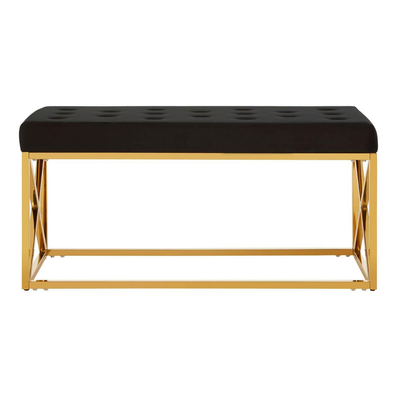 Adrian Black Velvet Tufted Seat And Gold Finish Bench Designer Sofas 4u