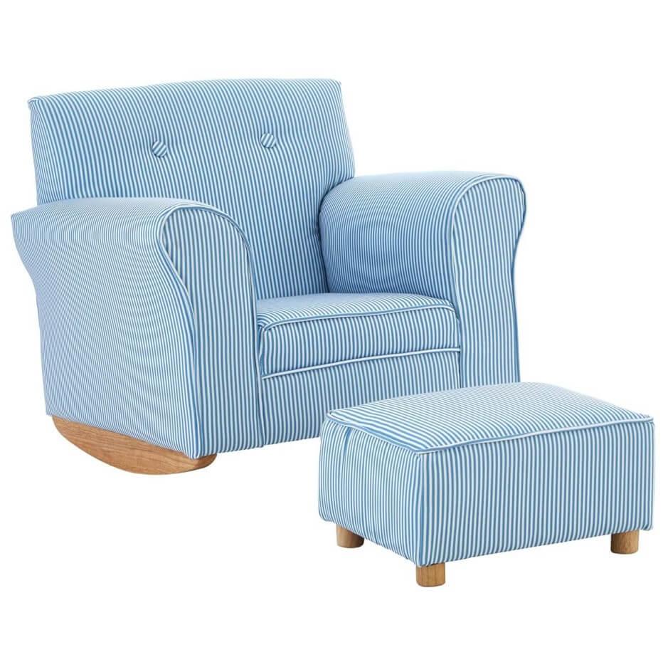 Olivia Kids Blue And White Stripe Fabric Rocker Chair With Footstool Designer Sofas 4u