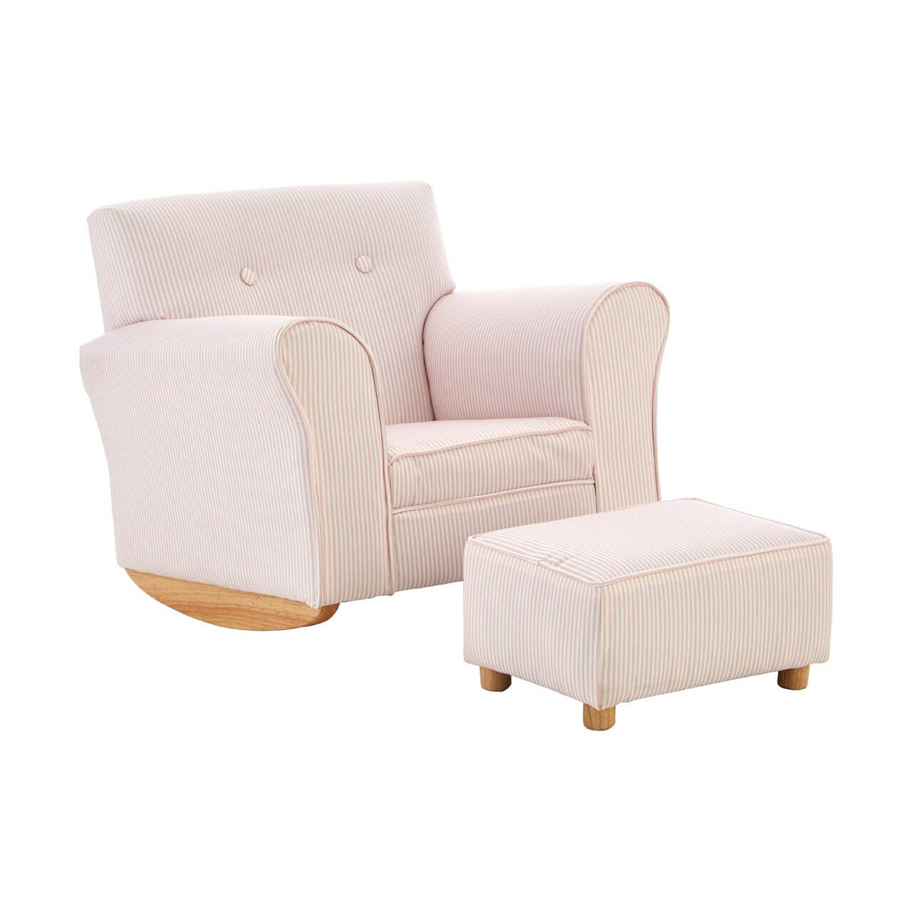 Picture of: Olivia Kids Pink And White Stripe Fabric Rocker Chair With Footstool Designer Sofas 4u