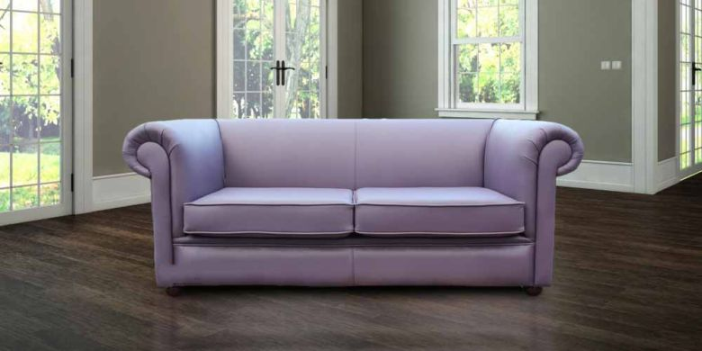 Chesterfield 1930's 3 Seater Settee Amethyst Purple Leather Sofa