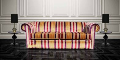 Chesterfield 1930's 3 Seater Sofa Settee Olivia Gold Stripe Velvet Fabric