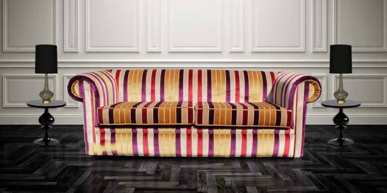 Buy Sofas and Chairs | Stripe Fabric Chesterfield Sofa UK | Designer Sofas For You