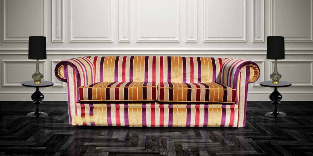 Buy Stripe Fabric Chesterfield Sofa Uk Designersofas4u