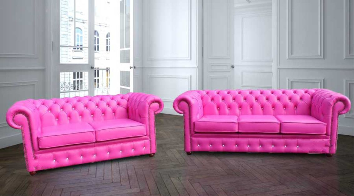 Buy Pink Leather Chesterfield Sofa Suite Designersofas4u