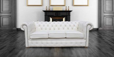 Chesterfield 3 Holyrood Seater White Leather Sofa Offer