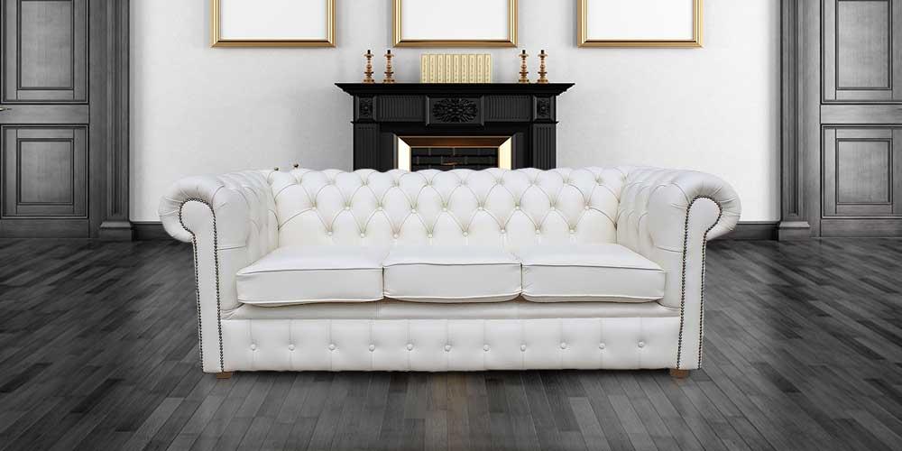White Chesterfield 3 Holyrood Seater sofa DesignerSofas4U