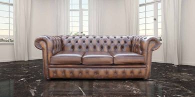 Chesterfield 3 Seater Antique Autumn Tan Leather Sofa Settee Offer
