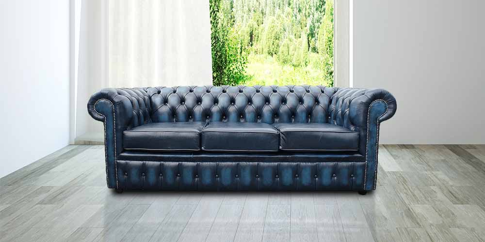 Antique Blue Leather Chesterfield 3 Seater Sofa