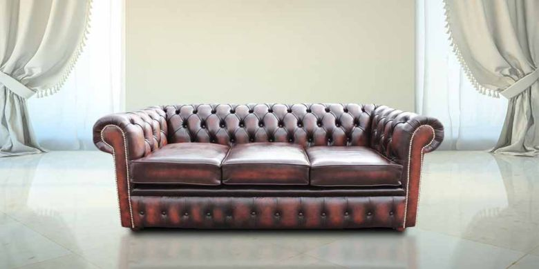 Chesterfield 3 Seater Antique Rust Leather Sofa Offer Brass Studs