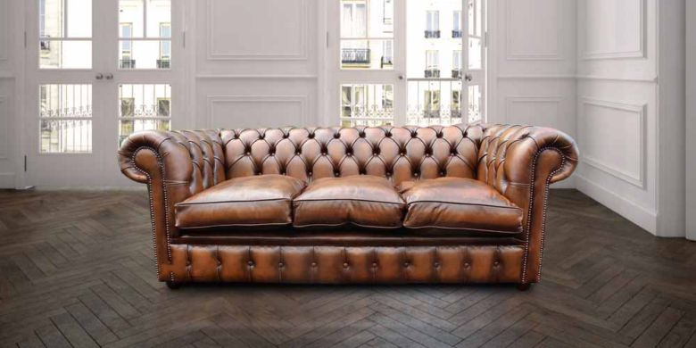 Chesterfield 3 Seater Antique Tan Leather Sofa Settee Offer Fibre Filled Seating