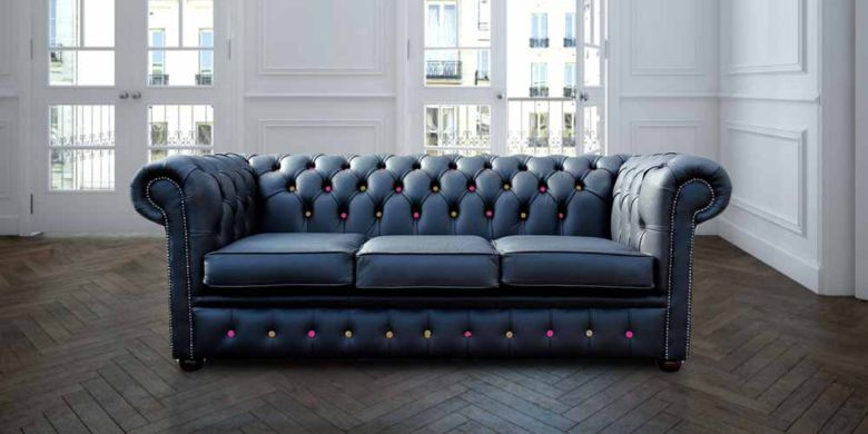 Chesterfield 3 Seater Black Leather Sofa Pink/Yellow Buttons Offer