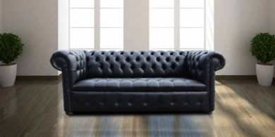 Chesterfield 3 Seater Buttoned Seat Black Faux Leather Sofa Offer