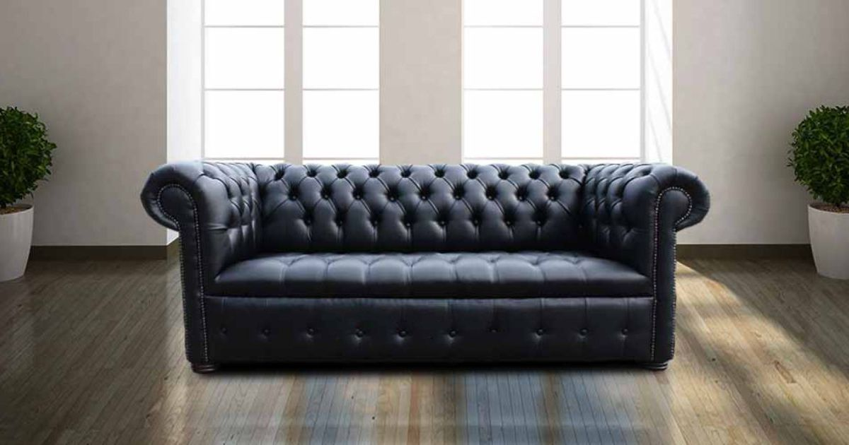 Designersofas4u Buy Black Leather Chesterfield Settee