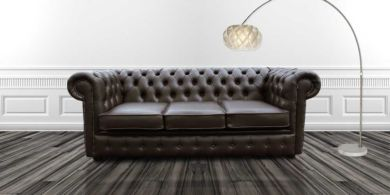 Chesterfield 3 Seater Espresso Brown  Faux Leather Sofa Offer
