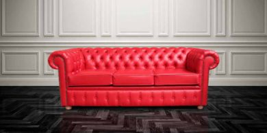 Chesterfield 3 Seater Red  Faux Leather Sofa Offer