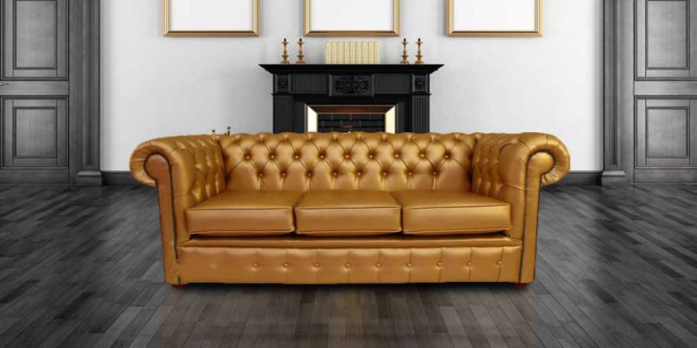 Chesterfield 3 Seater Settee Batani Gold Faux Leather