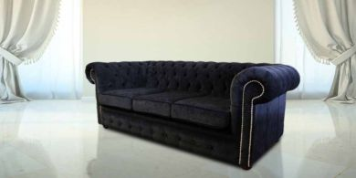 Chesterfield 3 Seater Settee Black Fabric Sofa Offer