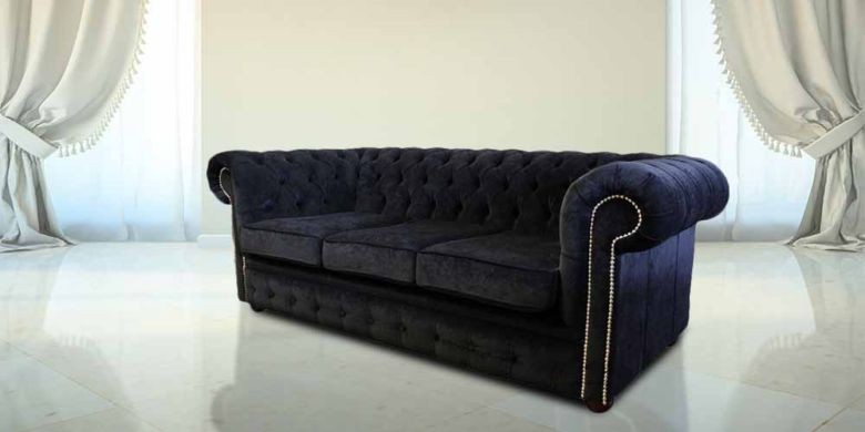 Bexley 3 Seater Velvet Chesterfield, Black