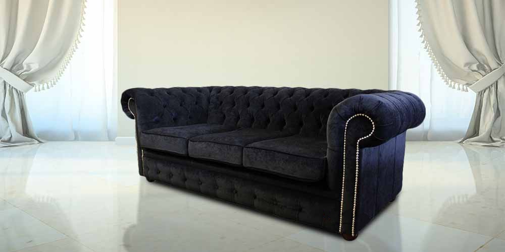 Bexley 3 Seater Black Velvet Fabric Chesterfield Sofa Offer