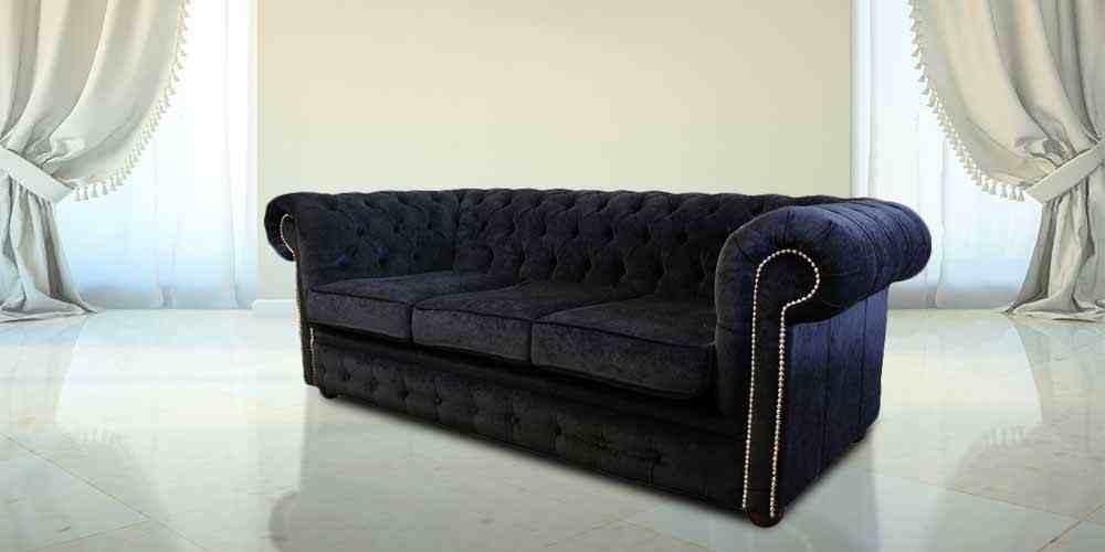 Black Velvet 3 Seat Chesterfield Sofa Designersofas4u