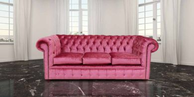 Chesterfield 3 Seater Settee Boutique Rose Velvet Sofa Offer