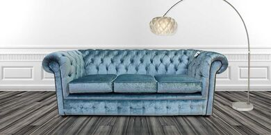 Chesterfield 3 Seater Settee Boutique Sky Velvet Sofa Offer