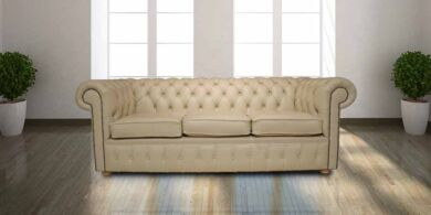 Chesterfield 3 Seater Settee Cream Cottonseed Leather Sofa Offer