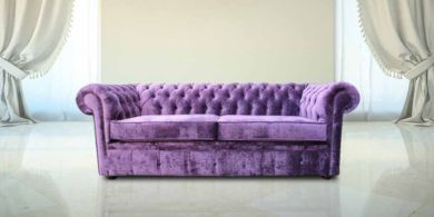 Chesterfield 3 Seater Settee Elegance Aubergine Fabric Sofa Offer