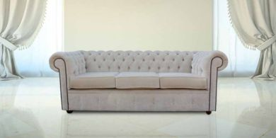 Chesterfield 3 Seater Settee Elegance Oyster Velvet Sofa Offer