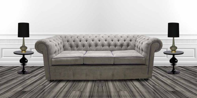 Chesterfield 3 Seater Settee Kimora Grey with Blue Piping Fabric Sofa Offer.