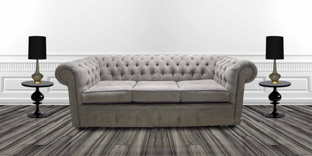 Amazing Chesterfield 3 Seater Settee Kimora Grey With Blue Piping Fabric Sofa Offer Gmtry Best Dining Table And Chair Ideas Images Gmtryco
