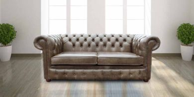 Chesterfield 3 Seater Settee Old English Alga Leather Sofa
