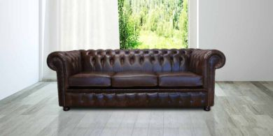 Chesterfield 3 Seater Settee Old English Dark Brown Leather Sofa Offer