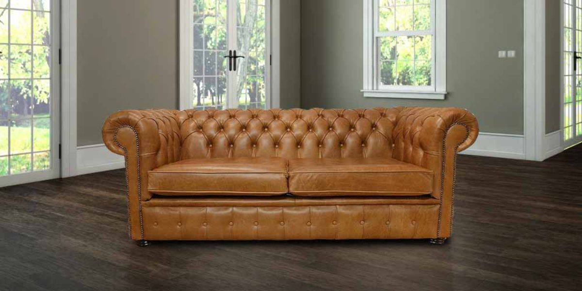 Tan Leather Chesterfield 3 Seater Settee Sofa