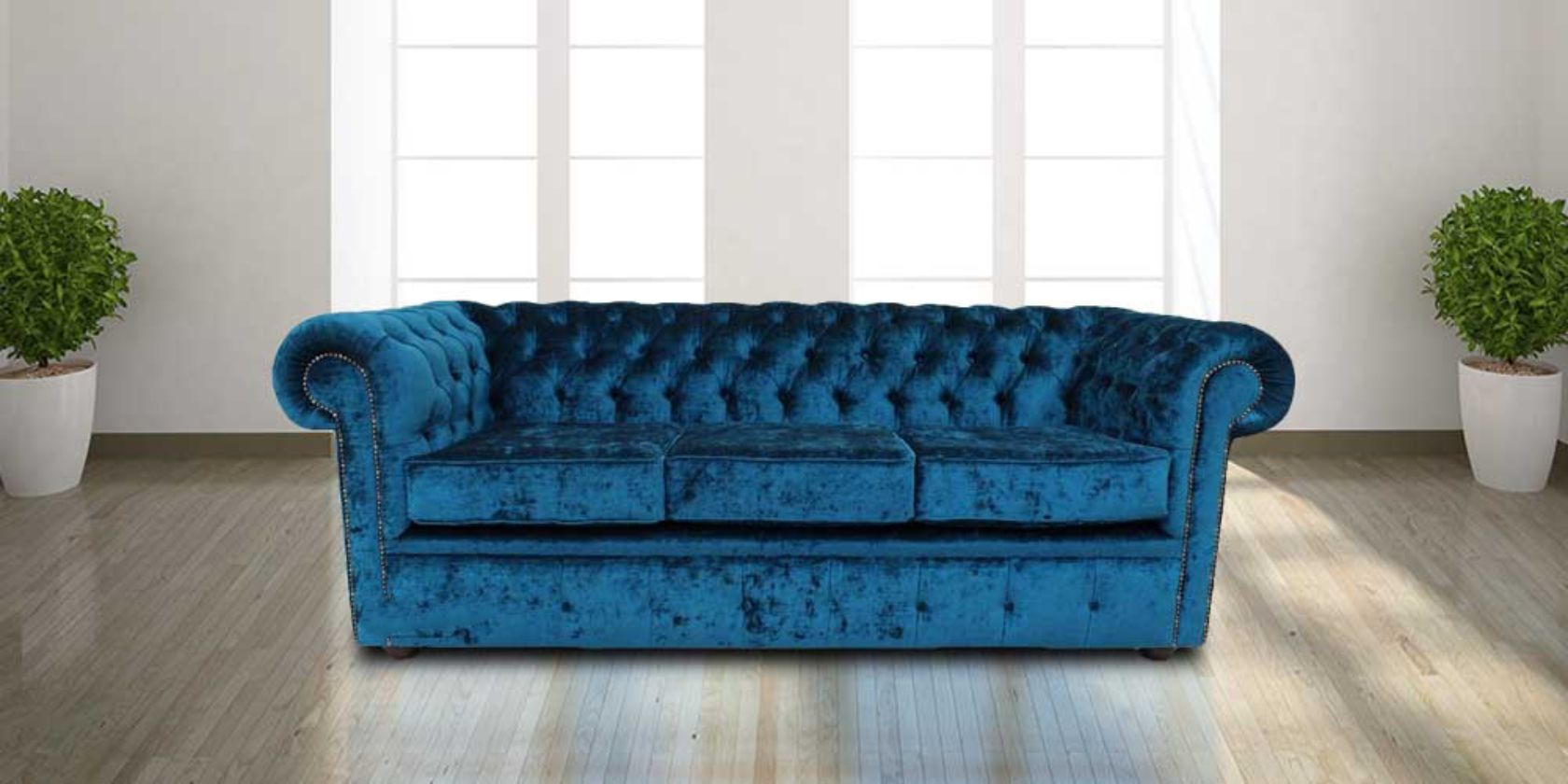 Buy Blue Velvet Chesterfield Sofa Uk Designersofas4u
