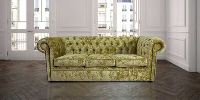 Chesterfield 3 Seater Settee Senso Chartreuse Velvet Sofa Offer