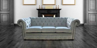 Chesterfield 3 Seater Settee Velluto Duck Egg Fabric Sofa Offer