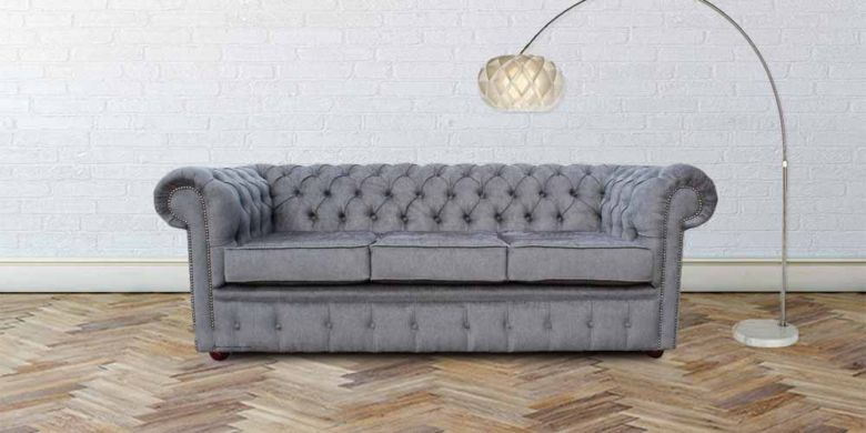 DesignerSofas4U | Buy Verity Grey Steel fabric Chesterfield