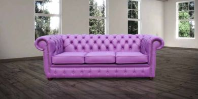 Chesterfield 3 Seater Settee Wineberry Purple Leather Sofa Offer