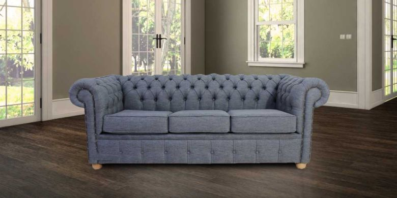 Grey Fabric Chesterfield | 1 year warranty|DesignerSofas4U