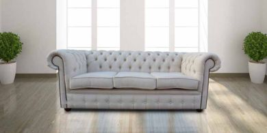 Chesterfield 3 Seater Settee Zoe Plain Parchment Fabric Sofa Offer