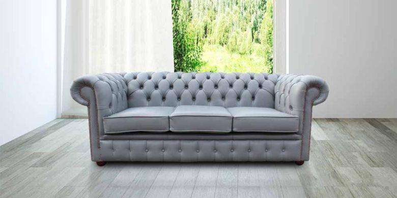 Chesterfield 3 Seater Sofa Settee Iron Grey Leather Sofa Offer
